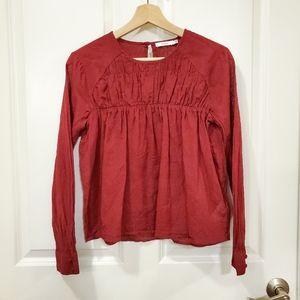 Aritzia Talula Red Long Sleeve Elastic Blouse Top